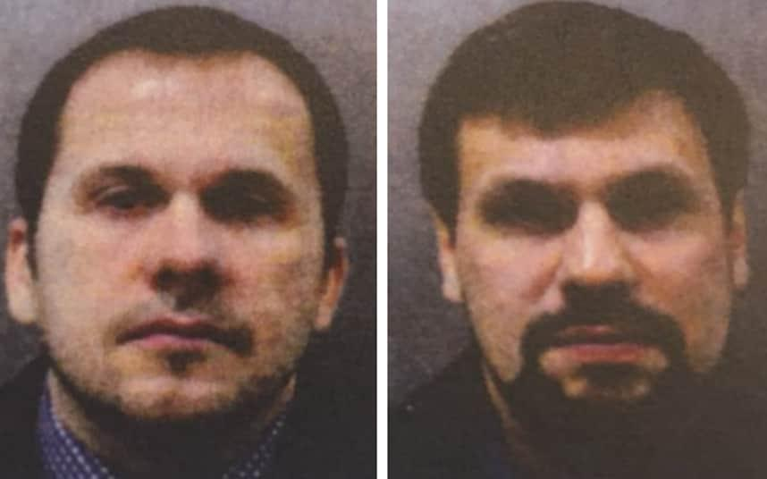 """Vladimir Putin said Russia has identified the two men wanted by British authorities for the Salisbury poisoning and called on them to speak to the media. One of them appeared to promise an interview to a Russian state news outlet next week, but doubts remain whether he is the same man sought by the UK police. Two Russians known as Alexander Petrov and Ruslan Boshirov have been charged with attempting to murder of former Russian spy Sergei Skripal and his daughter Yulia in Salisbury in March by spraying Novichok nerve agent on the handle of their door. The metropolitan police have said these names are probably aliases. Theresa May's spokesman on Wednesday reiterated that """"these men are officers of the Russian military intelligence service the GRU who used a devastatingly toxic chemical weapon in Salisbury."""" Asked about the case on Wednesday at the eastern economic forum in Vladivostok, Mr Putin tried to shift the blame away from the Russian state, insisting that the two men were """"civilians"""". """"We know who they are, we found them,"""" he said at a panel with the leaders of China and Japan. """"I hope they will appear on their own to talk about themselves, that will be better for everyone. There's nothing especially criminal there, I assure you."""" A police photograph of Alexander Petrov and Ruslan Boshirov, who have been named as suspects in the Salisbury Novichok attack Credit: Metropolitan Police His comments suggested that Russia will soon put forward an Alexander Petrov and Ruslan Boshirov to deny or muddy the waters around the British accusations. Following Mr Putin's statement, state media Rossiya 24 spoke with an employee of Virion, a branch of the state pharmaceutical company Microgen in the Siberian city of Tomsk, named Alexander Petrov. """"I have no comment for now. Maybe later. Next week I think,"""" Petrov said. But Alexander Petrov is an extremely common name in Russia. Photographs on his social media page, which were retrieved by The Telegraph last week before they we"""
