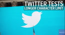 You may soon get to say a lot more on Twitter.  The social media giant announced it is testing a longer character limit.  The change will extend the current 140 characters to 280 for all languages except Japanese, Chinese and Korean.  Users won't see this change right away, though.  Only a small percentage will be testing it at first, and according to the company, it is just a test and there is no guarantee this change will be available to everyone.  Via Business Insider: http://www.businessinsider. ...