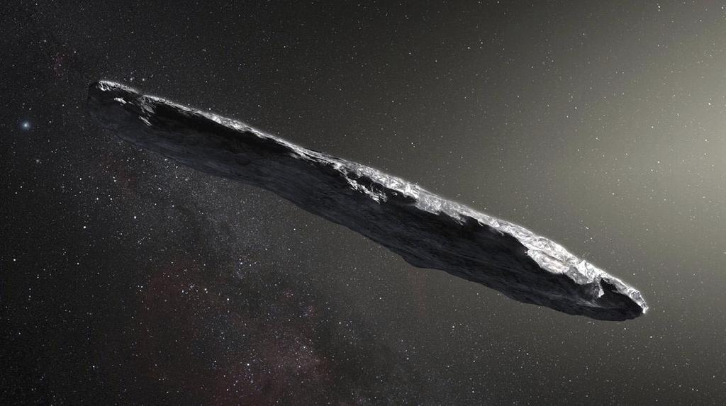 "A massive flattened boulder-like object traveling through space with ""peculiar"