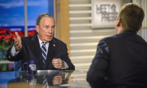 Michael Bloomberg and moderator Chuck Todd appear in a pre-taped interview on Meet the Press in Washington on 20 December.  Michael Bloomberg slammed Donald Trump's inaction on climate change on Sunday and said any candidate for president in 2020 – he himself might be one – must have a plan to deal with the problem.  Both men appeared on NBC's Meet the Press.