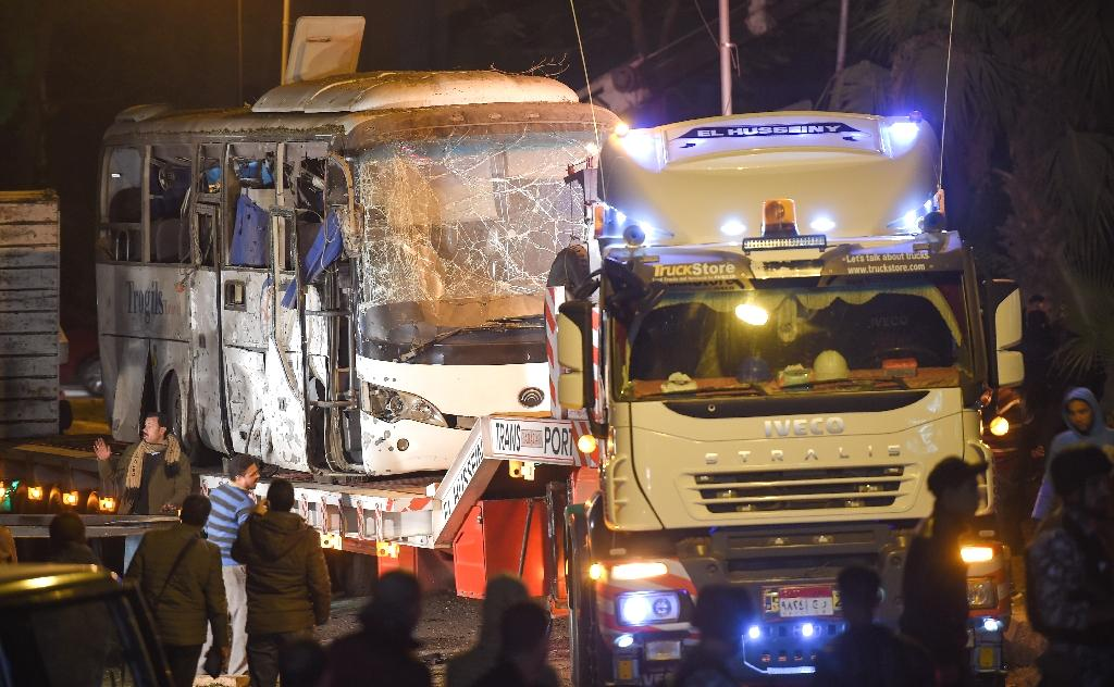 Egyptian police killed 40 suspects in a crackdown on Saturday after a roadside bomb hit a tour bus claiming the lives of three Vietnamese holidaymakers and an Egyptian guide.  Thirty alleged 'terrorists' were killed in separate raids in Giza governorate, home to Egypt's famed pyramids and the scene of Friday's deadly bombing, while 10 others were killed in the restive North Sinai, the interior ministry said without directly linking them to the attack.  A security source said the raids took place early Saturday morning, hours after Friday evening's roadside bombing which officials said hit a tour bus in the Al-Haram district near the Giza pyramids killing the three Vietnamese holidaymakers and their Egyptian guide.