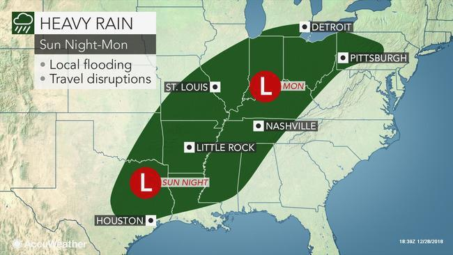 The southern United States will face additional bouts of rainfall next week which will threaten to disrupt New Year's festivities and exacerbate flooding problems.