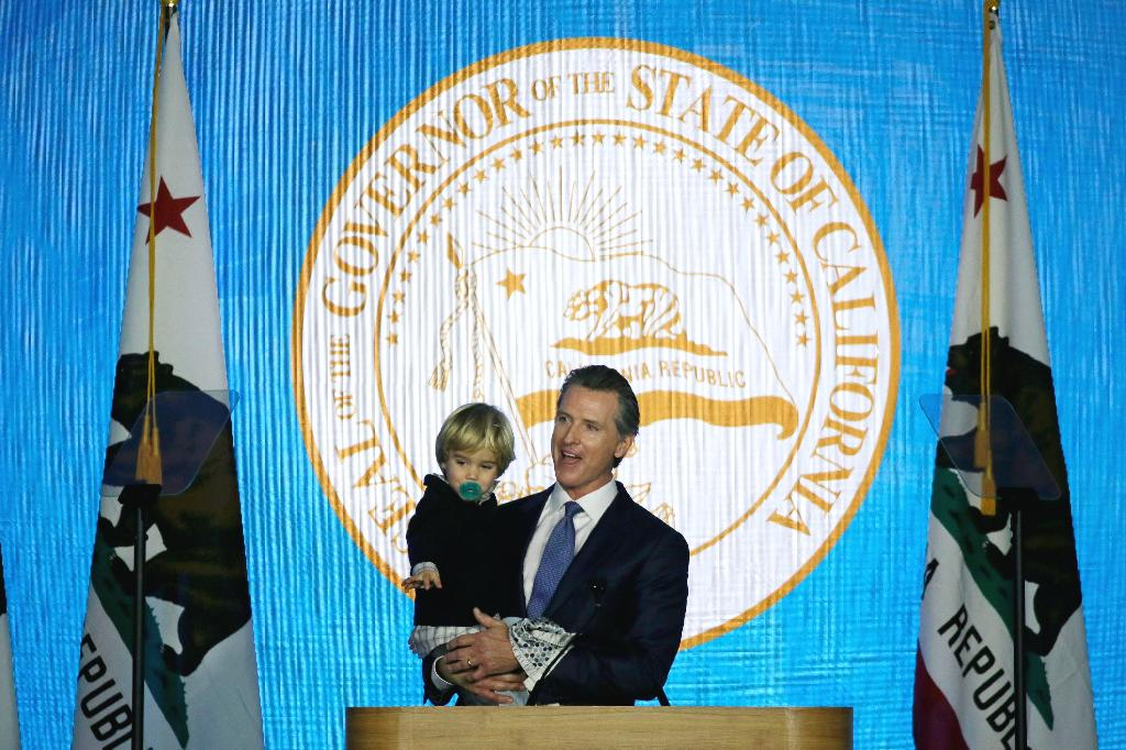 California Gov. Gavin Newsom's inauguration speech was interrupted by his 2-year-old son, Dutch.