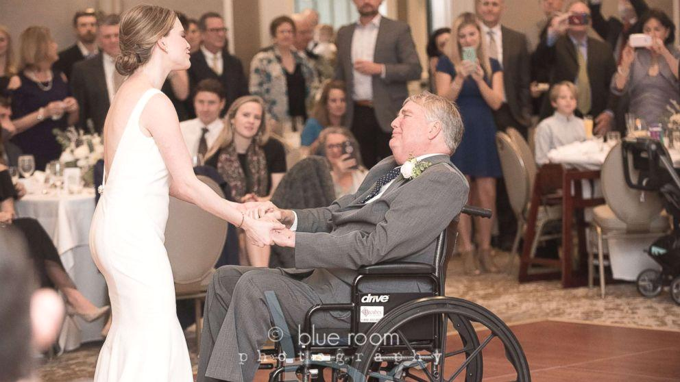 There wasn't a dry eye at an Alabama wedding last month as the bride and her dad shared one very emotional first dance.  The touching moment of Mary Bourne Butts' and Jim Roberts gliding on the dance floor was captured on video by Blue Room Photography and has been viewed 400,000 times on Facebook.  In May 2017, Jim Roberts, an adoption attorney and judge from Alabama, was diagnosed with a cancerous brain tumor known as glioblastoma (GBM).