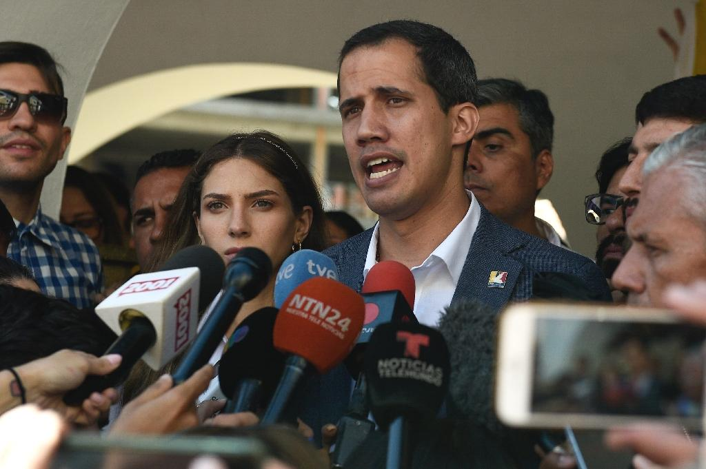 """Caracas (AFP) - Opposition leader Juan Guaido, recognized by some 50 countries as Venezuela's interim president, warned the military Sunday that blocking humanitarian aid from entering the country is a """"crime against humanity."""""""