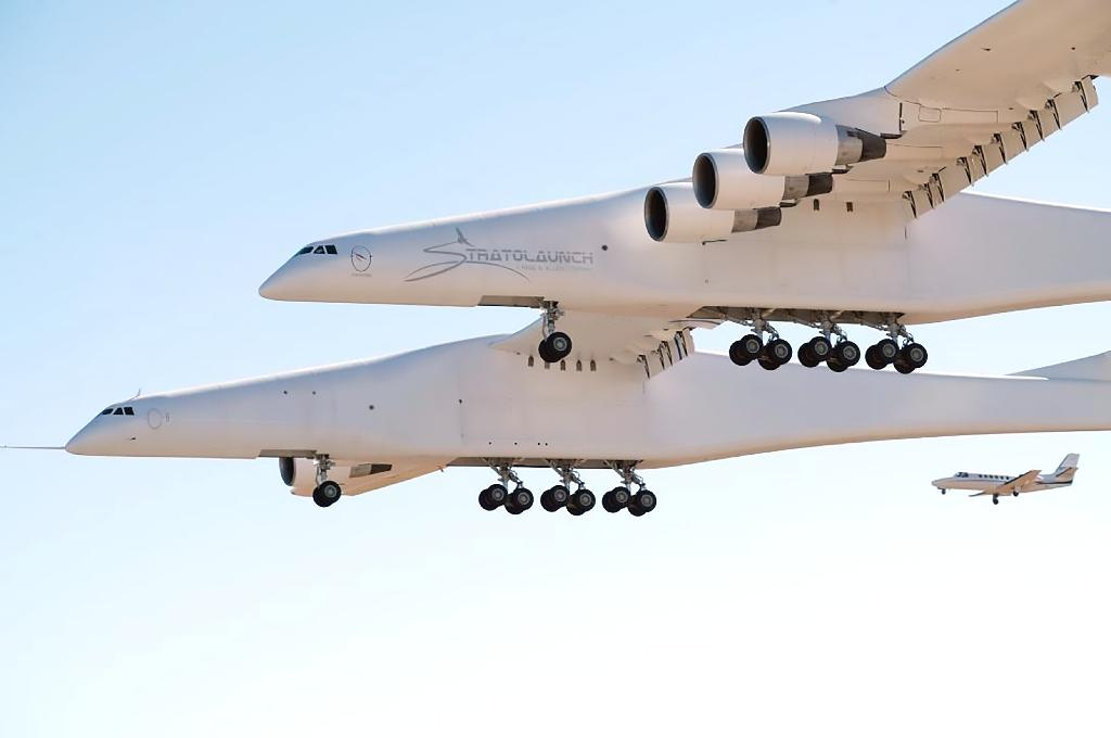 The world's largest airplane -- a Stratolaunch behemoth with two fuselages and six Boeing 747 engines -- made its first test flight on Saturday in California.  The mega jet carried out its maiden voyage over the Mojave desert.  It is designed to carry into space, and drop, a rocket that would in turn ignite to deploy satellites.