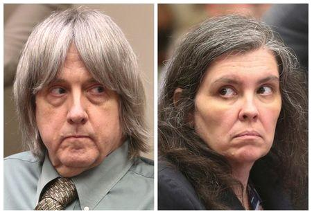 David Turpin, 57, and his wife Louise Turpin, 50, had agreed to be sentenced to 25 years to life in prison as part of an agreement with Riverside County prosecutors that saw them plead guilty in February to torture, child abuse and false imprisonment charges.  The couple cried during the sentencing hearing, where they listened to statements from their children and delivered statements of their own, according to video footage from ABC News.  'I'm sorry for everything I've done to hurt my children.