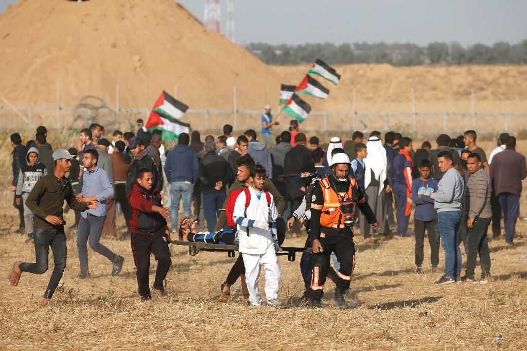 A Palestinian teenager was shot dead by the Israeli army Friday during renewed clashes on the Gaza border, the health ministry in the Palestinian enclave said.  A ministry spokesman said Maysara Abu Shaloof, 15, was 'shot in the stomach by the (Israeli) occupation east of Jabalia,' referring to a demonstration site in northern Gaza.  At least 48 others were taken to hospital with a variety of injuries from clashes at several spots along the border, the ministry said without elaborating.