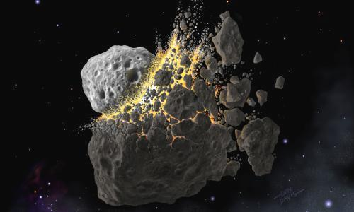 """Isotope found in seabed sediment points to clash of solar bodies near Mars, study suggests. Astronomers have discovered intriguing evidence that an asteroid break-up blanketed Earth with dust millions of years ago. The event dramatically cooled the planet and triggered an ice age that was followed by major increases in numbers of new animal species. The work, led by Birger Schmitz of Lund University in Sweden, was recently published in Science Advances and provides new insight into the impact of interplanetary events on our planet's evolution. """"We know about the 10km asteroid that crashed on Earth 67 million years ago and killed off the dinosaurs, but this event was very different,"""" Schmitz told the Observer. """"It occurred about 470 million years ago when an asteroid 3,000 times bigger than the dinosaurs-killer was destroyed during a collision with another asteroid beyond the orbit of Mars. It filled the solar system with dust and caused a major dimming of sunlight falling on Earth."""" Reduced radiation caused Earth to cool significantly, setting off a succession of ice ages. Water froze, ice caps spread and sea levels dropped, creating isolated shallow seas that were ideal for generating new species. Cold water also holds more dissolved oxygen, which would also have boosted speciation. Scientists already knew ice ages appeared at this time and that life went through a spectacular increase in biodiversity, particularly in the sea. The first coral reefs began to grow then, and strange tentacled predators called nautiloids appeared. This is known as the great Ordovician biodiversification event, or Gobe. Scientists have argued over the cause of Gobe, but now Schmitz, after studying dust particles in seabed sediments laid down at this time, says it was triggered by clouds of asteroid dust. """"The sediments laid down at this time are rich in the isotope helium-3 – which they could only have picked up travelling through space,"""" he said. """"It is a crucial clue."""" Other scientist"""