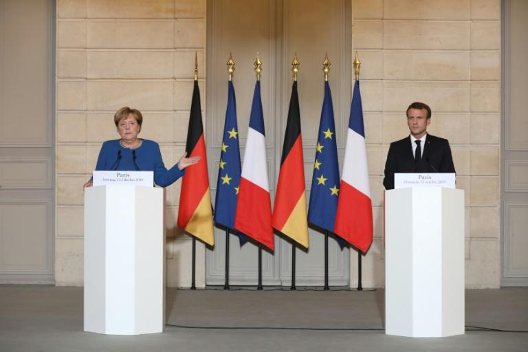 The leaders of France and Germany called Sunday for an end to Turkey's offensive against Kurds in northern Syria, warning of dire humanitarian consequences and a boost for the Islamic State group.  Emmanuel Macron hosted Angela Merkel in Paris for a working dinner amid turmoil stirred up by Ankara's attack and Britain's pending exit from the European Union, both issues on the leaders' agenda.