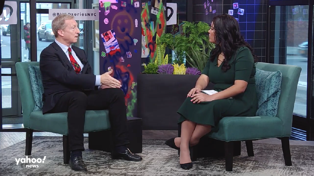 "On Yahoo News' ""Hot Mic with Brittany Shepherd,"" Democratic presidential candidate Tom Steyer spoke about race and reparations, saying that if he were elected to office, ""I would start a commission on race on day one."""