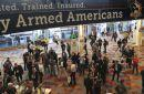 Gun companies are gathering for their annual conference and trade show this week in Las Vegas at a pivotal moment for the industry amid slumping sales, a public increasingly agitating for restrictions on access to firearms and escalating tensions over gun control efforts.  The event, held by the National Shooting Sports Foundation, the gun industry's lobbying group, will take place in Las Vegas — about 3 miles (4.8 kilometers) from the deadliest mass shooting modern U.S. history.  Gun sales normally taper off during Republican administrations because gun owners are not as compelled to stockpile weapons out of fear that lawmakers will impose restrictions on firearms.