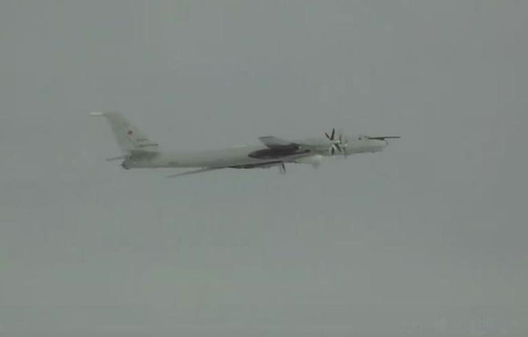US warplanes intercepted four Russian reconnaissance aircraft near Alaska on Saturday, US commanders said.  The Russian Tu-142's came within 65 nautical miles south of Alaska's Aleutian island chain and 'loitered' in the Alaskan Air Defense Identification Zone (ADIZ) for eight hours.  An ADIZ is a perimeter within which air traffic is monitored by the air forces of one or more friendly countries so they have extra time to react to hostile action.