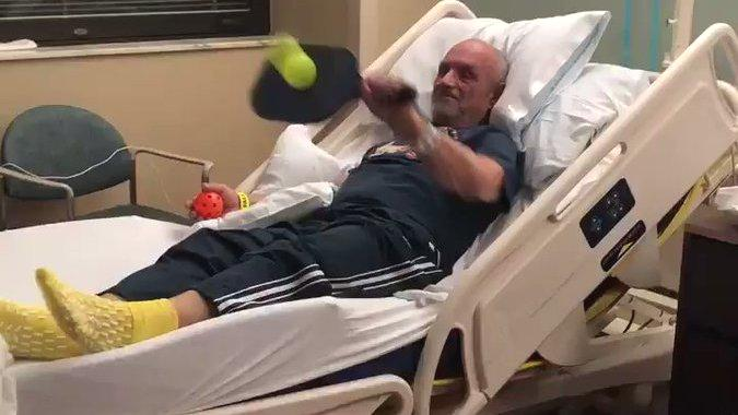 "A man in North Little Rock, Arkansas, who is recovering after suffering a stroke as he battles pancreatic cancer, is showing that nothing will bring him down.Halen Rath shared this video, taken by her mother, of her grandfather Tony Ross hitting a ball with a paddle after suffering a stroke which greatly limited his mobility. Ross is also battling stage four pancreatic cancer.""My grandpa was diagnosed with stage 4 pancreatic cancer in June. Sadly, a few days ago he suffered a severe stroke, resulting in major deficits to the right side of his body,"" she tweeted, ""My mom just sent me this video from his rehab facility and I thought I'd share this little victory."" Ross can be seen holding a pickleball paddle with his left hand and hitting a ball back and forth as someone tosses it to him.As of writing, the video has been viewed over 600 times on Twitter. Credit: Carrie Rath via Storyful"